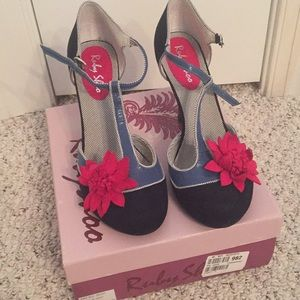 Gorgeous blue suede heels by Ruby Shoo never worn